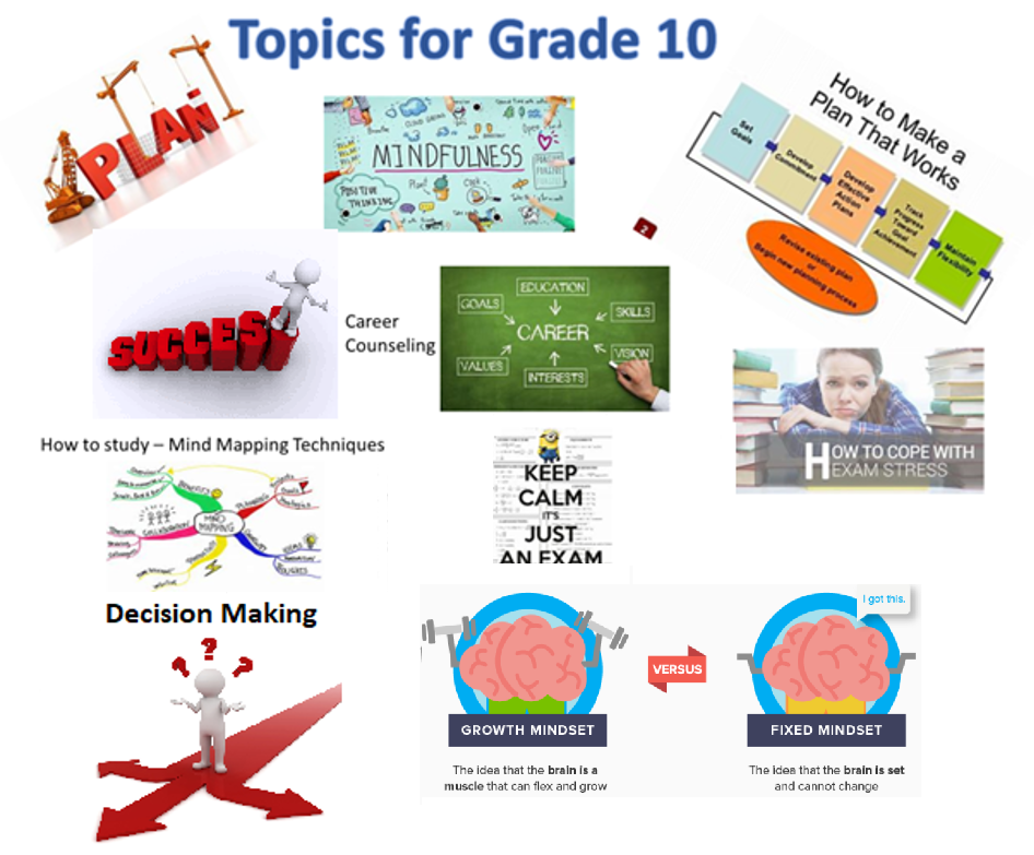 Topics developed for grade 10